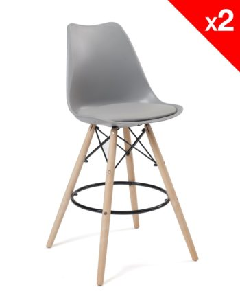Chaise de Bar Scandinave coussin - gris