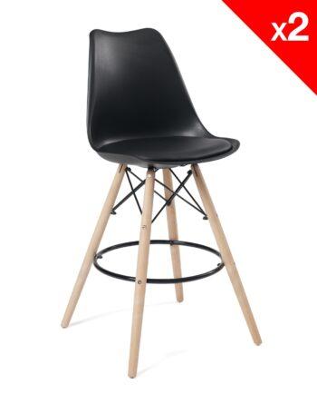 Chaise de Bar Scandinave coussin - noir