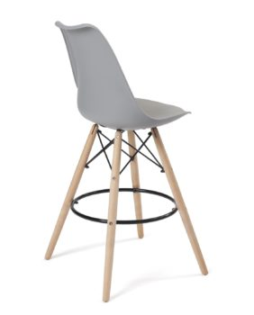 lot de 2 chaises de bar - style scandinave - ilot cuisine - gris