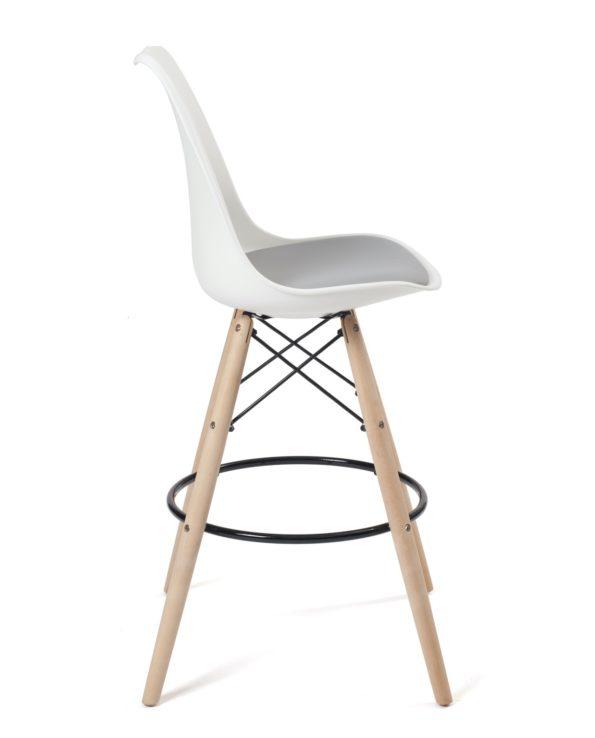 Lot 2 tabourets scandinave - chaises de bar - Bois - Blanc et Gris