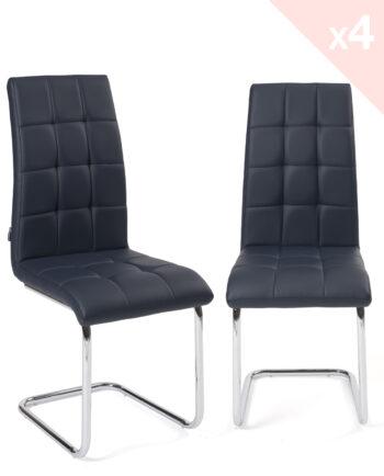 Lot de 4 chaises Salle à manger matelassées simili cuir Bleu nuit - Kayelles