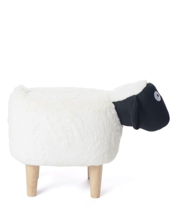 Ottoman, tabouret, Pouf Mouton enfant - Noir et blanc