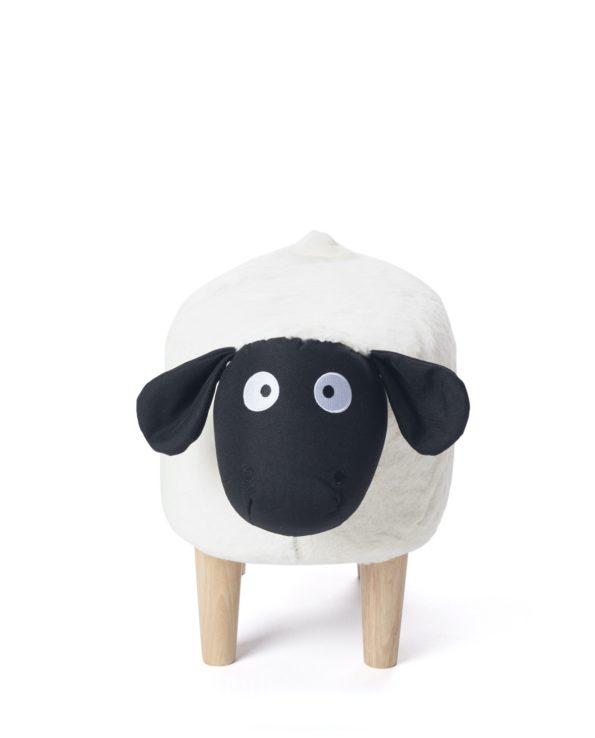 Pouf Tabouret, Ottoman, Enfant - Mouton - Noir et Blanc