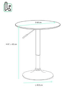Seti Table de bar haute - Mange debout réglable en hauteur - DIametre 60cm - Kayelles