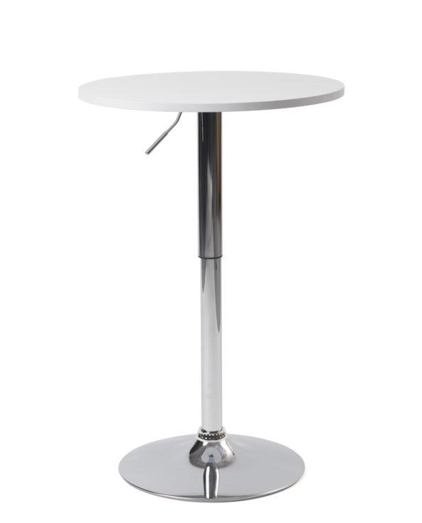 Table de bar haute - Mange debout réglable en hauteur - Blanc - Diametre 60cm - Kayelles