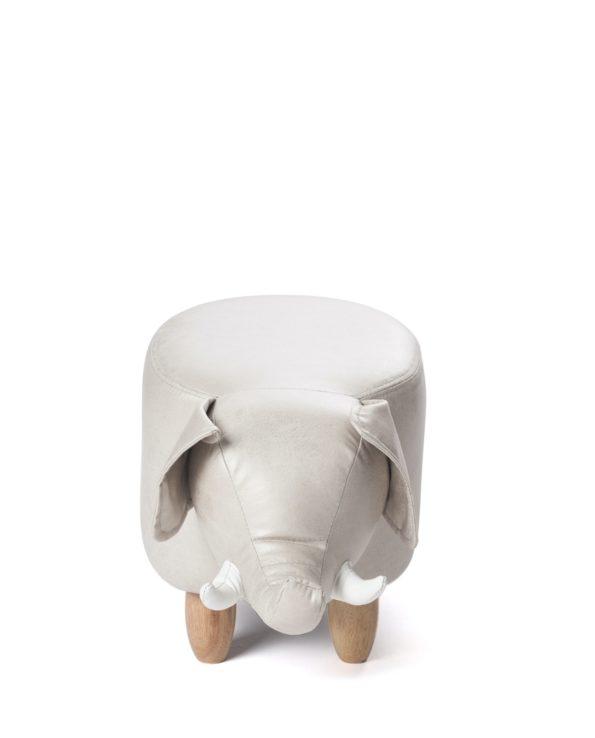 Tabouret, enfant ottoman - Pouf Elephant Beige - Bois - CLINT