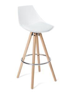 Chaise de bar design en bois - Blanc Coussin - Kayelles SOTO