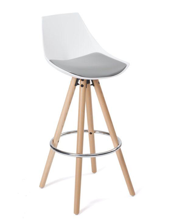 Chaise de bar design en bois - Blanc et gris Coussin - Kayelles SOTO