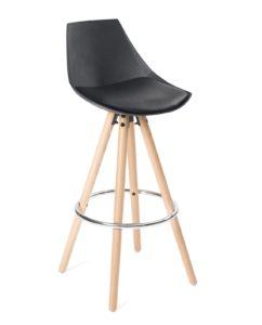 Chaise de bar design en bois - Noir Coussin - Kayelles SOTO