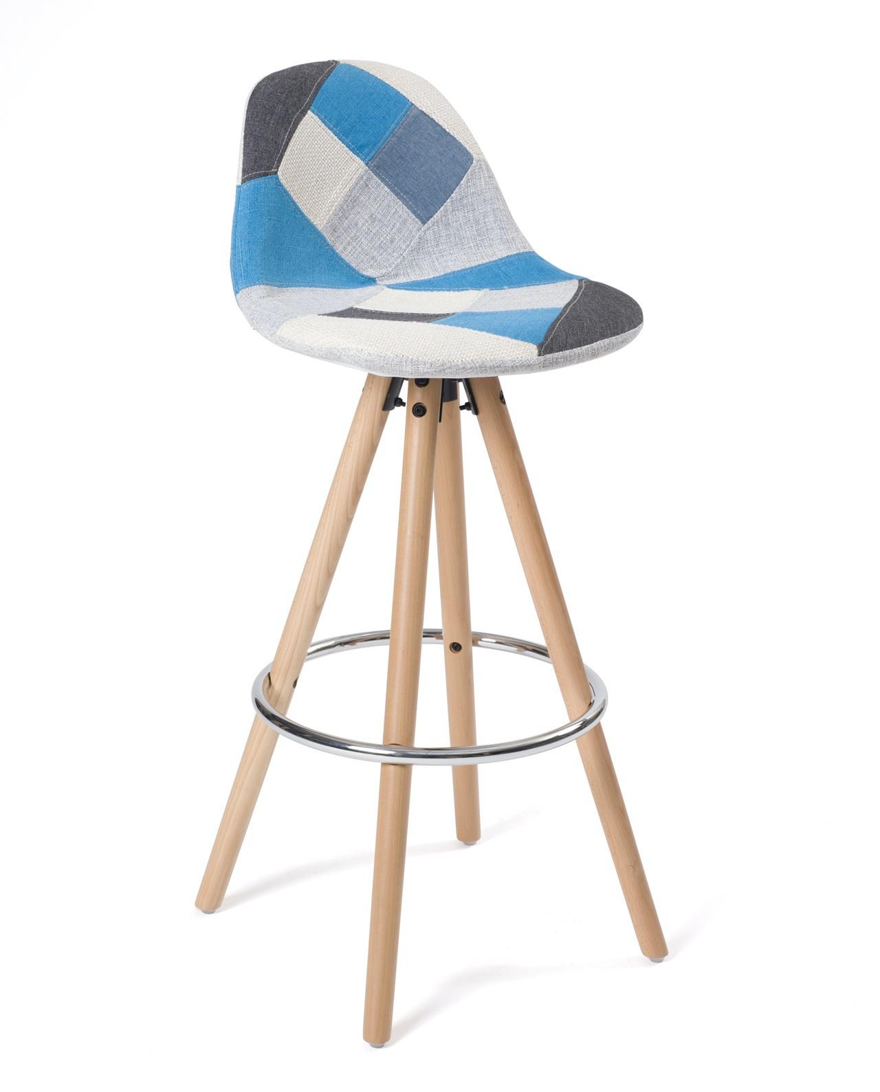 sana lot de 2 tabourets de bar patchwork pi tement bois. Black Bedroom Furniture Sets. Home Design Ideas