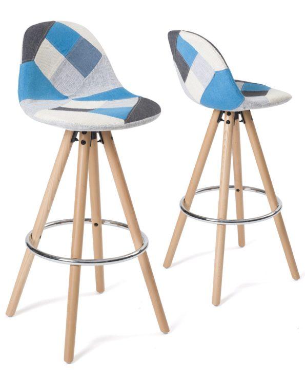 Tabouret de bar - Bois et tissu patchwork Bleu - SANA Kayelles