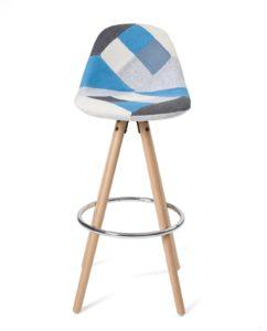 Tabouret de bar Scandinave - Bois et tissu patchwork Bleu - SANA Kayelles