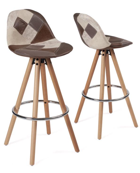 tabouret-bar-scandinave-chaise-haute-patchwork-marron