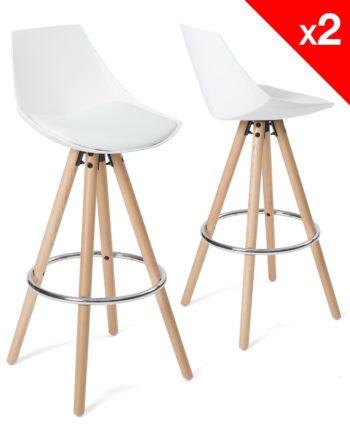 tabouret de bar design - bois blanc coussin - kayelles SOTO