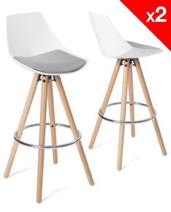tabouret de bar design - bois blanc et gris coussin - kayelles SOTO