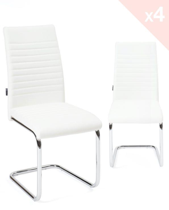Chaises salle à ma,nger lot de 4 - OPUS - Blanc