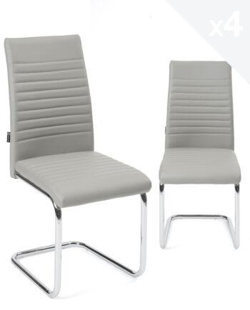chaises-salle-manger-lot-4-OPUS-gris-chrome