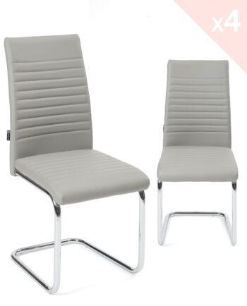 Chaises salle à ma,nger lot de 4 - OPUS - Gris et chrome