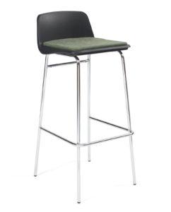 chaise de bar, cafe, resto, cuisine avec coussin amovible, metal chromé et noir coussin vert