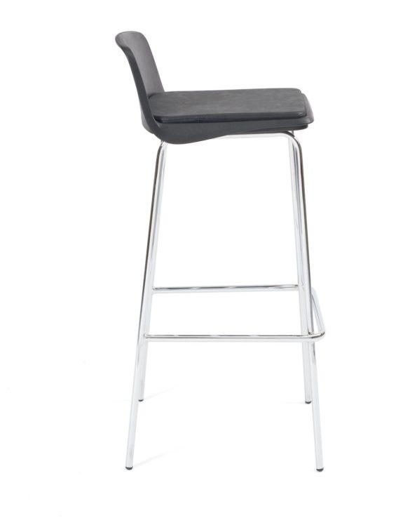 chaise de bar, cafe, resto ou cuisine design - metal chromé et noir Kayelles