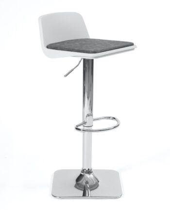 Tabouret de bar design - Cuisine - Coussin amovible - pivotant et réglable - BOBA Blanc et Gris