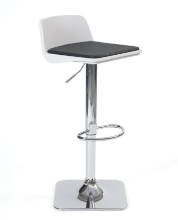 Tabouret de bar design - Cuisine - Coussin amovible - pivotant et réglable - BOBA Blanc et Noir
