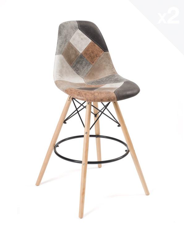 Lot-2-tabourets-bar-patchwork-chaises-hautes-marron-Scandinaves-SLEO