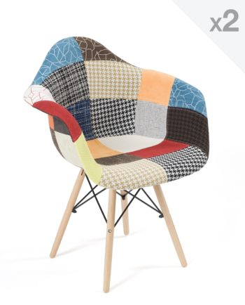 chaise accoudoirs scandinave-patchwork - NADOR
