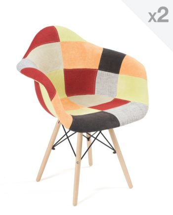 chaise accoudoirs scandinave-patchwork agrume - NADOR