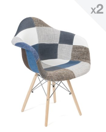 chaise accoudoirs scandinave-patchwork bleu - NADOR