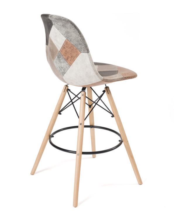 chaise de bar haute patchwork similicuir marron, style scandinave Kayelles