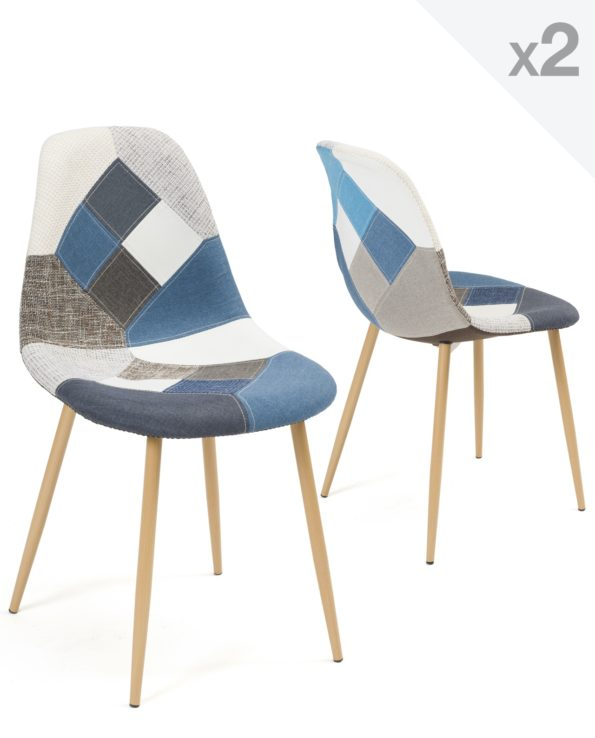 Chaise Patchwork bleu Scandinave - cuisine et salle à manger - NOVA