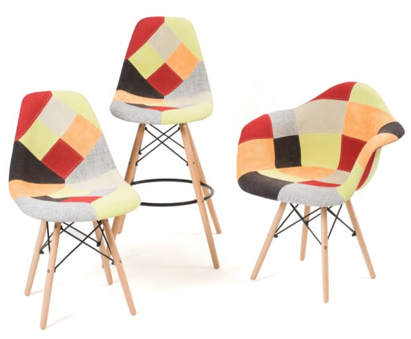 chaises-patchwork-tabouret-patchwork-agrume-design-scandinave-Kayelles