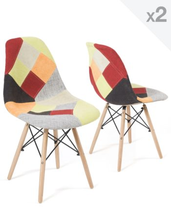 Chaises Scandinaves Patchwork Agrume - Lot de 2 - NADIR