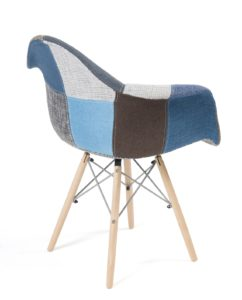 lot 2 chaises accoudoirs patchwork bleu - NADOR