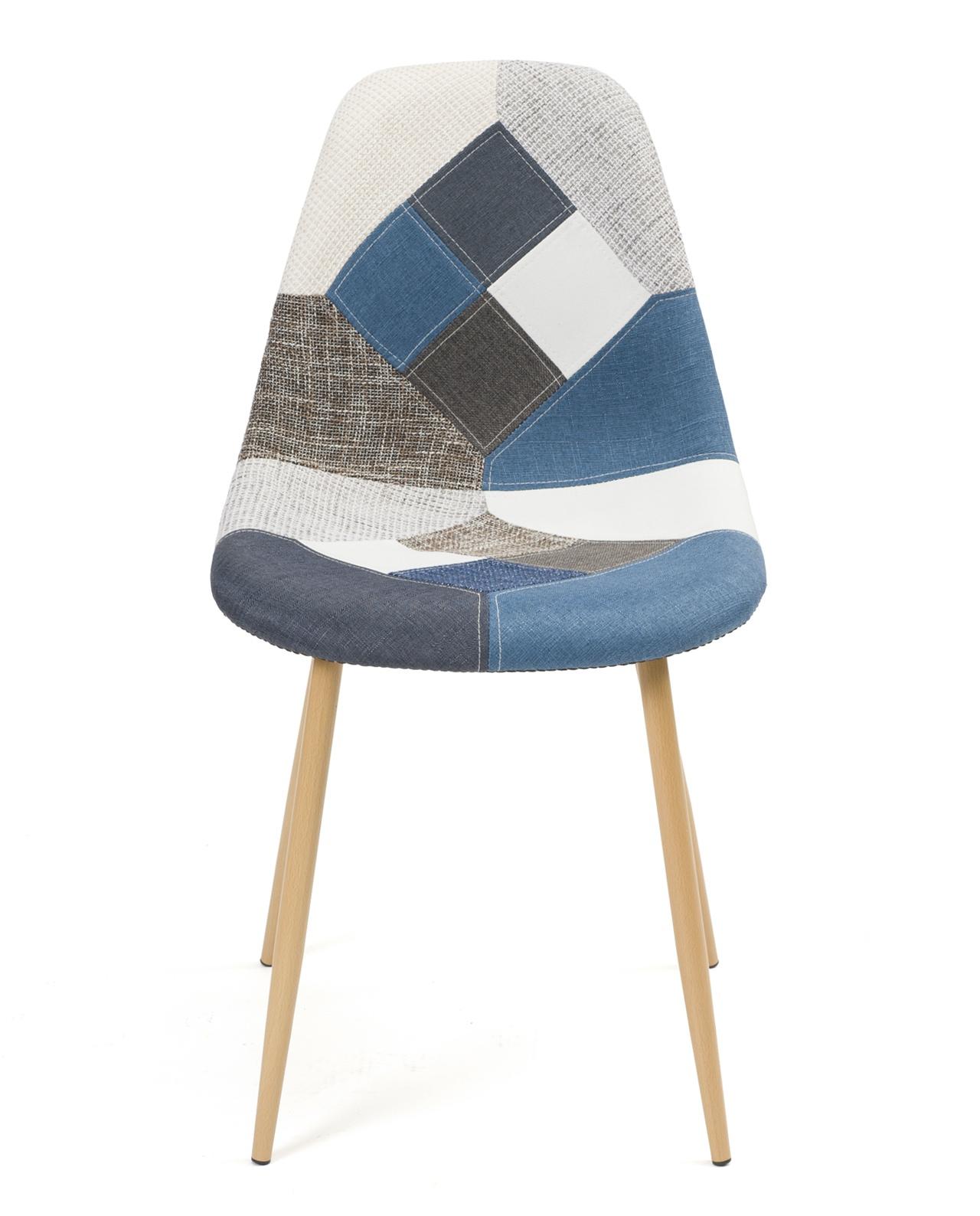 Chaise Patchwork Bleu Style Scandinave Nova Lot De 2 Kayelles Com