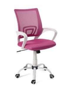 chaise-bureau-ergonomique-fauteuil-bureau-blanc-rose-flag-plus