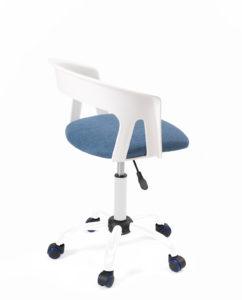 chaise-bureau-pas-cher-roulettes-accoudoirs-réglable-kayelles-blanc-bleu-mesh