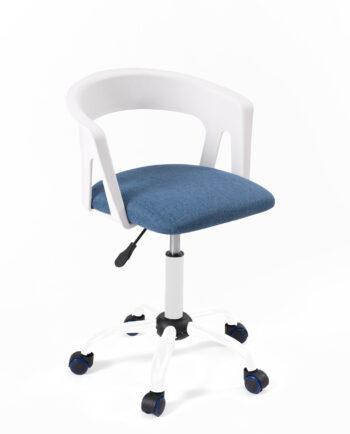 chaise-fauteuil-bureau-roulettes-accoudoirs-réglable-kayelles-blanc-bleu-mesh