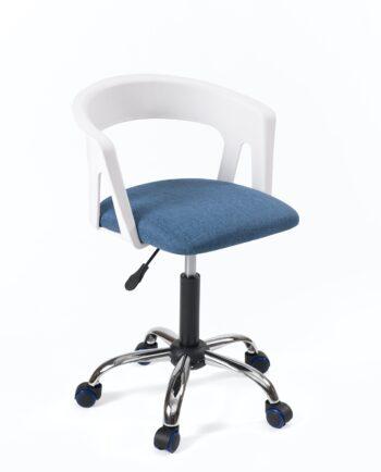 Chaise fauteuil de bureau à roulettes - Accoudoirs - réglable - Blanc - bleu tissu
