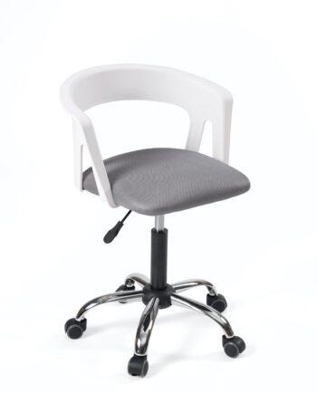 Chaise fauteuil de bureau à roulettes - Accoudoirs - réglable - Blanc - gris PU