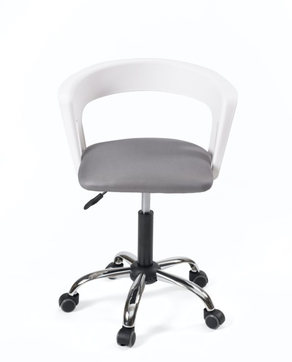 Fauteuil chaise bureau roulettes - Accoudoirs - réglablr - KAYELLES - Blanc gris PU