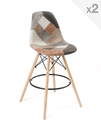 Lot de 2 tabourets de bar patchwork, chaises hautes patchwork marron style scandinave