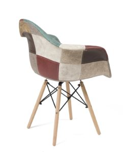 Chaise Accoudoirs DAW style Scandinave - Patchwork marron, NADOR Kayelles