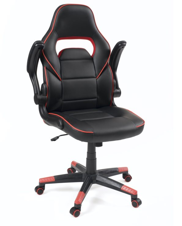 chaise-bureau--gamers-racing-reglable-pivotant-accoudoirs-amovibles-BAJA-noir-rouge