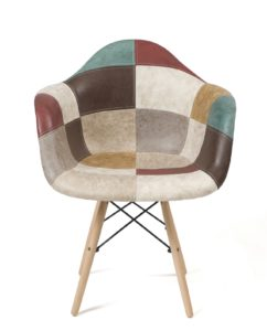 Chaise patchwork style Scandinave marron - Kayelles