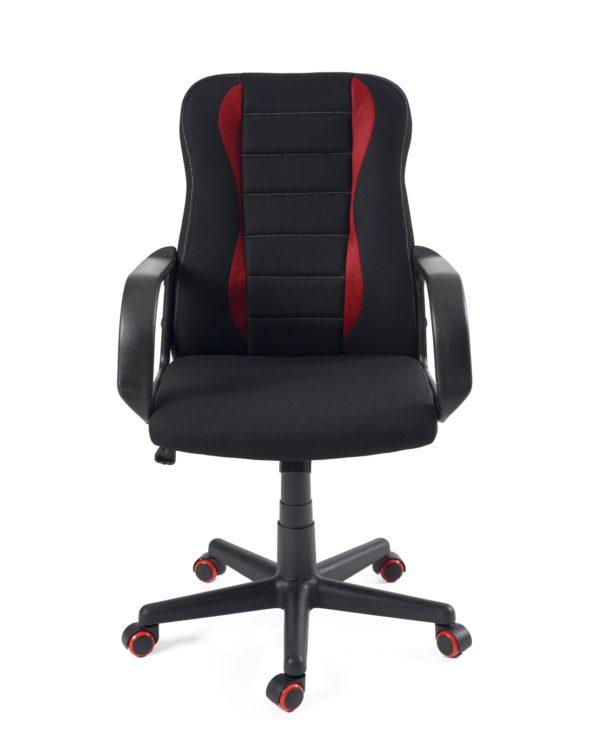 Chaise racing pas cher, ergonomique - Tissu mesh noir et rouge - FAST