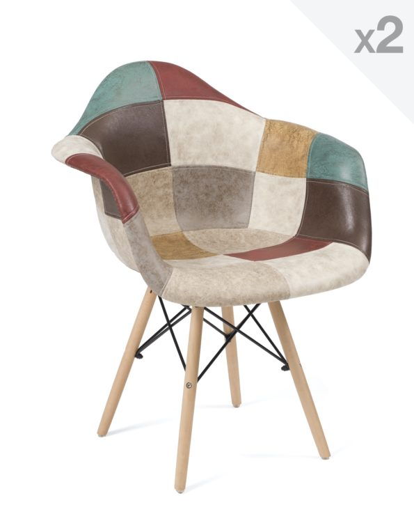 Chaise Scandinave avec accoudoirs Patchwork Marron - NADOR
