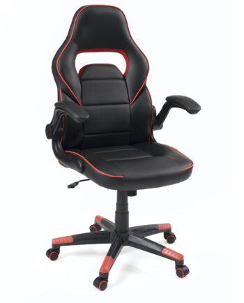 fauteuil gamers racing reglable et pivotant, accoudoirs amovibles - BAJA Noir et rouge