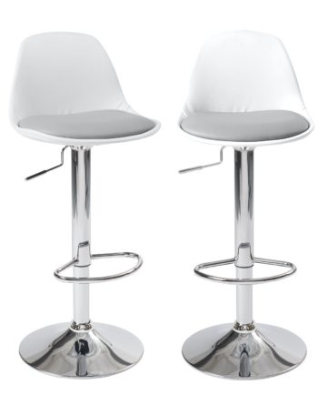 Lot de 2 tabourets de Bar - similicuir PU Blanc Gris- Confort - Design